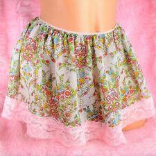 Tiny Sissy Slave Floral sheer chiffon lace trim mini slip skirt for panties OS