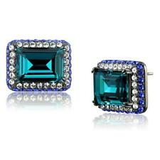 2812 stainless steel studs aquamarine  Earrings simulated diamonds Asscher stud