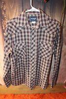 Wrangler Medium Pearl Snap Long Sleeve Plaid Tan Brown Blue Cotton Men's Shirt