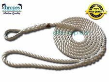 3 Strand Mooring Pendant 100% Nylon Rope 1/2 In X 10 Ft with Thimble TS 6400 lbs