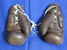 Vintage Russian Ussr Leather Brown Boxing Gloves National Soviet old school