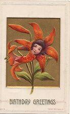 Postcard Fantasy Flower Girl Face Birthday Greetings
