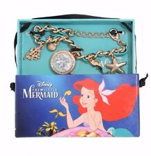 DISNEY ARIEL THE LITTLE MERMAID BLING GEM WATCH CHARM BRACELET SHELL STARFISH