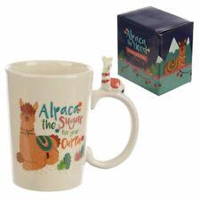 Tazza mug colazione in ceramica con Alpaca in Miniatura sul Manico 0PD3
