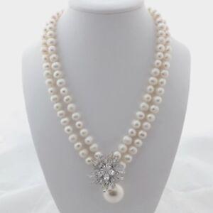 """8"""" 2Strands White Pearl Sea Shell Pearl CZ Pendant Necklace"""