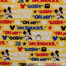 BonEful FABRIC Cotton Quilt Yellow Blue Red Disney Mickey Mouse Baby Boy L SCRAP