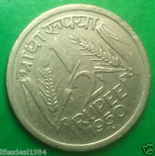 Rarest 1950 1/2 Half Rupee ( 50 paisa )  Republic India Coin