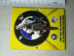 Emaille Schild BMW 11 cm x 8 cm 50 Jahre BMW Klub Prag