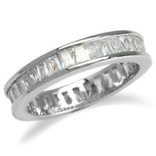 New CZ White Gold Plated 925 Sterling Silver Eternity Princess Ring