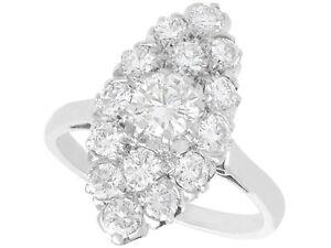 Antique 1.78ct Diamond and Platinum Marquise Cluster Ring Circa 1920