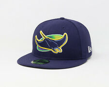 New Era 59Fifty Hat Mens MLB Team Tampa Bay Rays Navy Blue ALT Fitted Cap 5950