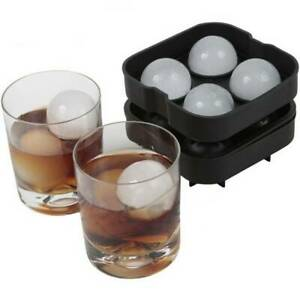 Round Ice Balls Maker Tray FOUR Large Sphere Molds Cube Whiskey Cocktails Black