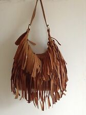 Ladies Brand New genuine Leather Tan Hand Bag With Fringe Tassles High Quality