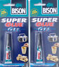 2 x Bison Super Glue Gel 3g Non Drip Adhesive Tube Pool Snooker Cue Re Tipping