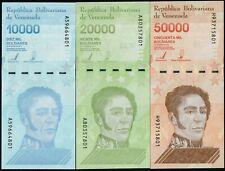 VENEZUELA 10000, 20000. 50000  BOLIVARES (P NEW) 2019 (2020) SET OF 3 NOTES UNC