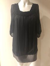 TONY COHEN Off White Cotton Silk Batwing Sleeve Dress, Size 4 / S