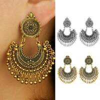 Women Metal Tassel Jhumka Indian Ethnic Bollywood Boho Dangle Earrings Jewelry~