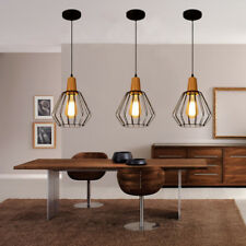3 Pcs Modern Pendant Light Kitchen Wood Ceiling Lights Black Chandelier Lighting