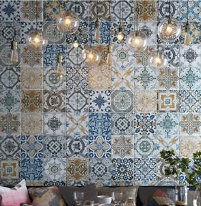 Yurtbay AVIA Moroccan Pattern Multicolored Wall and Floor Ceramic Tiles 20x20cm