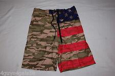Mens Swim Trunks PATRIOTIC Army Camo RED BLUE STARS STRIPES Leg Pocket S 28-30