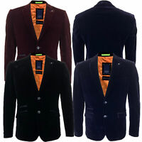 Mens Blazer Cavani Coat Velvet Suit Jacket Regular Fit Formal Wedding Casual New