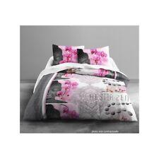 Housse de couette en polyester 240X220 cm + 2 taies d'oreiller Zen orchidée