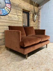 Arlo & Jacob Clara small 2 str sofa rust umber velvet modern danish retro 60s