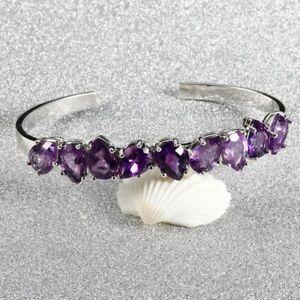 Fashion Sterling Silver 925 Natural Pear Amethyst Bracelet Bangle Women Jewelry