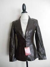 COLE HAAN~WOMENS CHESTNUT BROWN SOFT LAMBSKIN LEATHER BLAZER JACKET~XS 2~NWT  EH