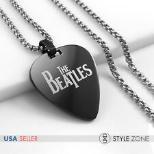 Stainless Steel The Beatles Guitar Pick Music Pendant w Round Box Necklace 14B