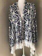 Massini Longsleeve Sweater Shrug  Womens Medium Blue Off White Aztec Pattern