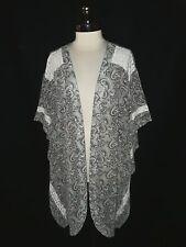 CACIQUE Plus Size 3X 22 24 Robe Cover-Up Black Aqua Pink Paisley Lace
