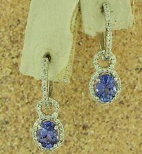14k Solid White Gold Natural Diamond & AAAA  Tanzanite Earring 2.63 ct dangling