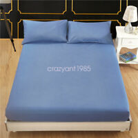 Fitted Sheet Slipcover Mattress Protector Stretch Solid Color Bedroom for Decor