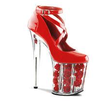 NEW Womens Rose High Heel Crystal Platform Evening Prom Pump Bridal Wedding Shoe