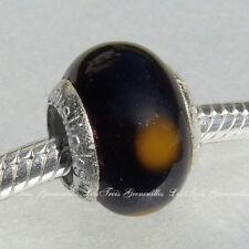 Lovelinks Bead Sterling Silver, Murano Glass Black Yellow Dots Charm Jewelry L26