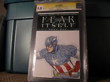 FEAR ITSELF #1 CGC SS 9.8 SKETCH MARC WOLFE CAPTAIN AMERICA 1 OF A KIND BLANK