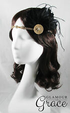 Candice vintage gatsby 1920s flapper gold black feather hair accessory headpiece
