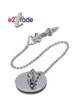 Metal Basin Plug Chrome 1 ½ Inch with 12 Inch Chain & Stay HEAVY DUTY BRASS