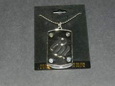 ROCAWEAR RW thick dog tag silver tone ball chain necklace NEW Authentic