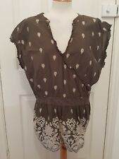 ladies olive green tunic top print bottom size 24