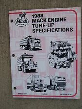 1988 Mack Truck Six & Eight Cylinder Engine Tune Up Specifications Manual  V