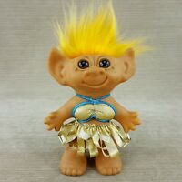 "Uneeda 8"" Troll Doll Hawaiian Hula Girl Gold Bikini Yellow Hair Double Horseshoe"