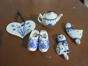 Lot of 5 Delft Blue Hand Painted Holland Ornaments Shoe Wall Hooks Dog Goose