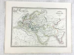 1846 Antique Map of Europe in the Middle Ages Arabia Hand Coloured Engraving