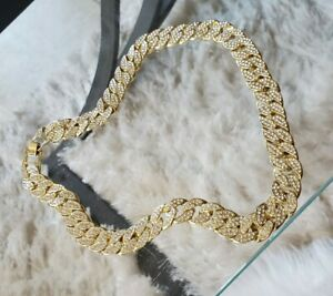 Gold Plated Hip Hop Cuban Link CZ Pave Heavy Chain