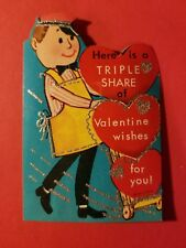 Vintage 1940's Valentine Card - Delivery Man - Here is a Triple Share Valentine