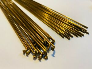 Bicycle Spokes & Nipples - 14G Stainless Steel - GOLD (CHOOSE YOUR LENGTH)