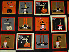 "Witchy Black & Orange Boots Pumpkins Squares Halloween Fabric  23"" Panel  #3710"