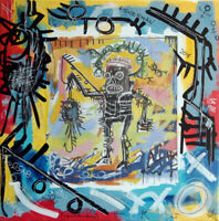 PyB signed FISHERMAN Basquiat TABLEAU pop street art graffiti french paint canva